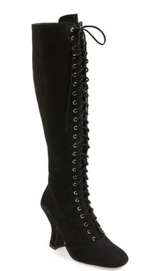 """Quarter View: Women's Shoes, Women's Lace Up Boot, Jeffrey Campbell Wyder, Suede Upper, 4"""" heel height, Size 10, Color Black."""