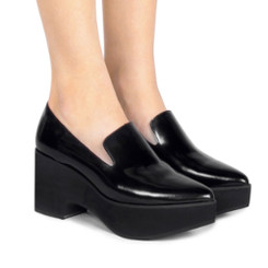 Worn View: Women's Shoes, Women's Platform Pointed toe loafer, Jeffrey Campbell Sinead, Black, Size 6