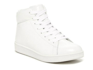 Quarter View: Women's Shoes, Women's Sneaker, Jeffrey Campbell Player Hi, Hi Top Leather sneaker with textured pebble leather upper, White, Size 6