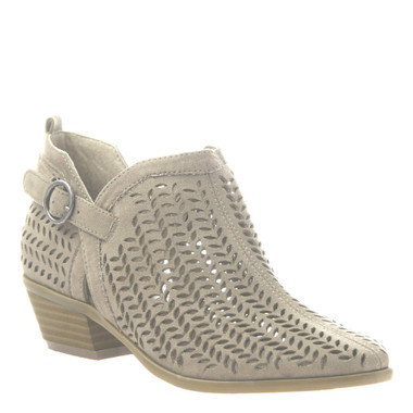 "Quarter View. Women Shoes Online, Women's Shoes, Women's Boots. Madeline Girl Tranquile, 1.3"" heel bootie, perforated leather. Light Mud"