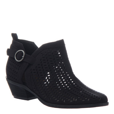 "Quarter View. Women Shoes Online, Women's Shoes, Women's Boots. Madeline Girl Tranquile, 1.3"" heel bootie, perforated leather. Black."