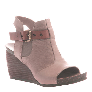 """Quarter View:  Women Shoes, Women's Sandals, OTBT Arcadian, 3"""" stacked wedge sandal, Texture blocked leather, Color Pecan."""