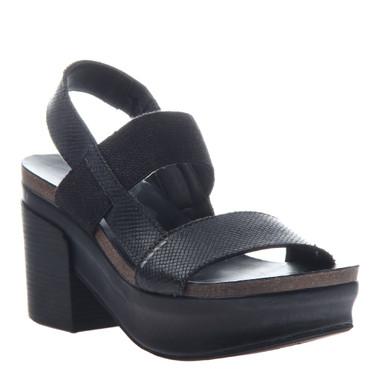 "Quarter View:  Women Shoes, Women's Sandals, OTBT Indio, 3"" stacked heel-platform sandal, Textured leather, Color Black."