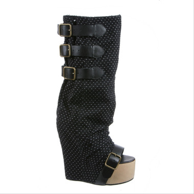 Side View: Women's Shoes, Women's Boots, Irregular Choice Mo Money, Mo Money Boot, Mo Money Open Toe boot, Funky Boots, Color Black- polka dots in white