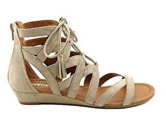 "Side  View: Women's Shoes, Women's Sandals, Madeline Girl Saturate, Gladiator Sandal, 1"" heel,Color: Mid Taupe"