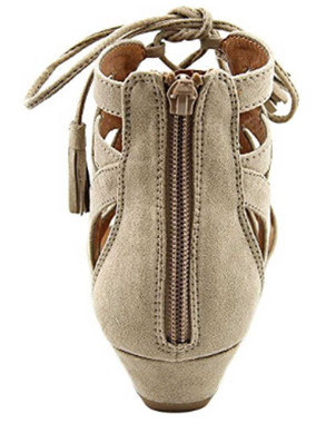 "Back  View: Women's Shoes, Women's Sandals, Madeline Girl Saturate, Gladiator Sandal, 1"" heel,Color: Mid Taupe"