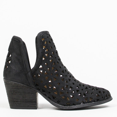 """Side View: Women's Shoes, Women's Bootie, Perforated leather, 2"""" heel, Color: Black"""