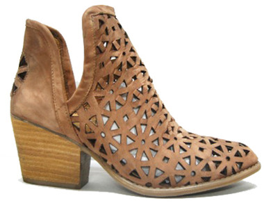 """Side View: Women's Shoes, Women's Bootie, Perforated leather, 2"""" heel, Color: Brown"""