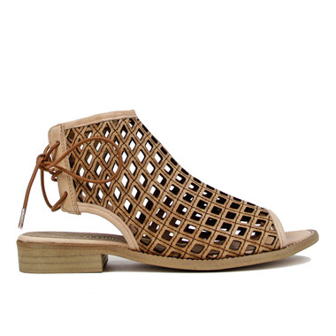 """Side View: Women's Shoes, Women's Flat Sandal, Musse and cloud aimy, Perforated leather, 1"""" heel, Color: Cue (Tan)"""