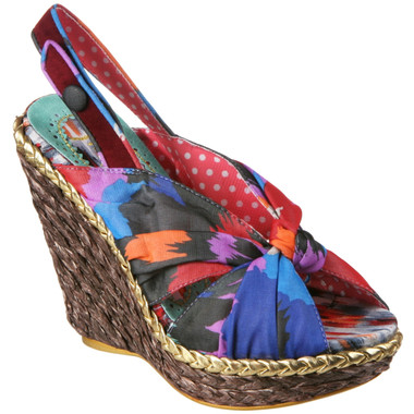 Women's Shoes, Irregular Choice Amy Lasagne, Women's Wedge Sandal, Abstract Slingback Wedge Sandal, Tan Green