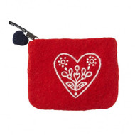 Felt Coin Purse - Heart & Flower Red - Klippan (590447)