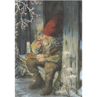 God Jul Card - Tomte in Doorway (B6)
