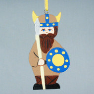 Viking with Shield Wooden Ornament (3341)