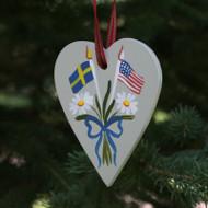 Sweden & USA Flag Heart Ornament - Wooden (3657)