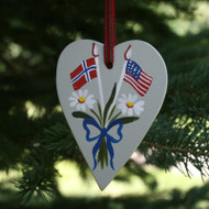 Norway & USA Flag Heart Ornament - Wooden (3658)