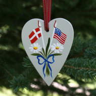 Denmark & USA Flag Heart Ornament - Wooden (3659)