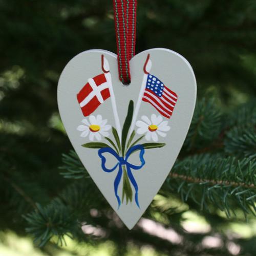 Denmark & USA Flag Heart Ornament - Wooden (3659)