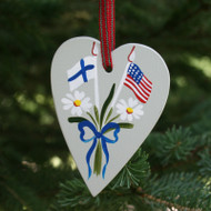 Finland & USA Flag Heart Ornament - Wooden (3660)