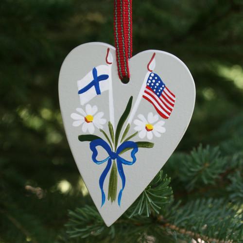 Finland & USA Flag Heart Ornament - Wooden (3660)