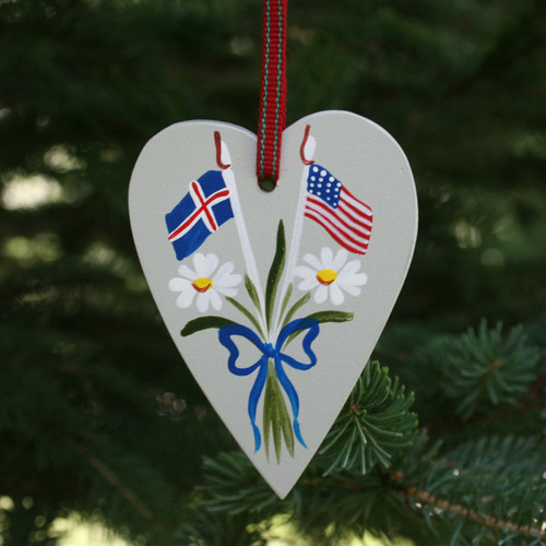 Iceland & USA Flag Heart Ornament - Wooden (3661)