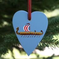 Viking Ship on Heart Ornament - Wooden (3663)