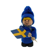 Swedish Boy with Flag - Wooden - 3""