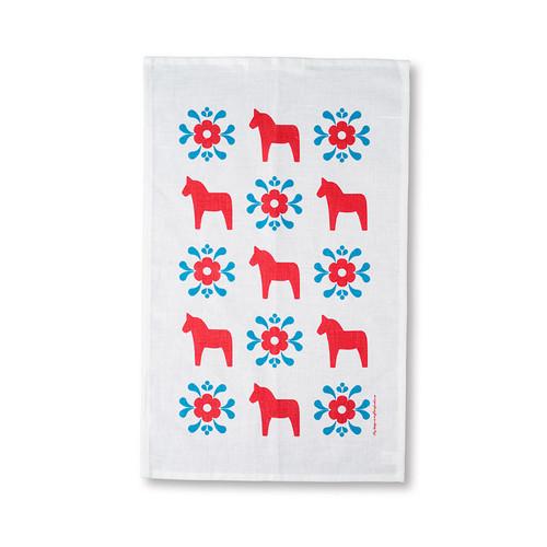 Tea Towel/Kitchen Towel - Dala Horse - Red & Blue (86053)