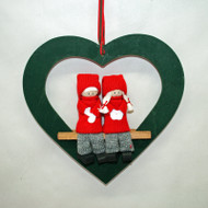 Tomte Couple in Wooden Heart (3410H)