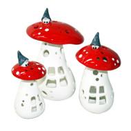 Tomte on Mushroom Tealight Holder - Medium (29416)