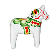 "Swedish Wooden Dala Horse - White - 4"" (SDH4WHT)"