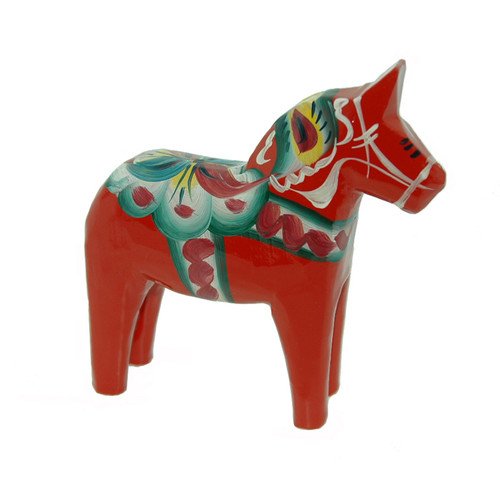 "Swedish Wooden Dala Horse - Red - 7"" (SDH7)"