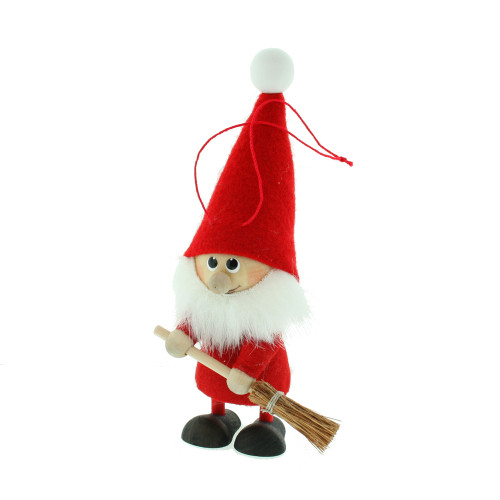 """Elf Santa Ornament w/Broom - Wooden/Felt - 5 1/2"""" (26282)"""