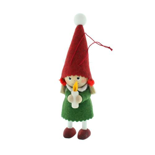 "Elf Santa Girl with Candle Ornament - Wooden/Felt - 6"" (26283)"