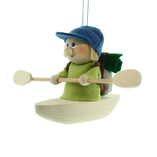 "Backpack Kayak Boy Ornament - Wooden/Felt - 5"" (26284)"