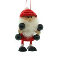 """Dumbbells Elf Santa Ornament - Wooden/Felt - 3 1/2"""" (26286)"""
