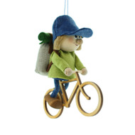 "Backpack Cycle Boy Ornament - Wooden/Felt - 5"" (26287)"
