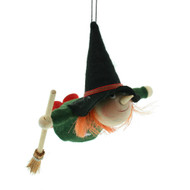 "Kitchen Witch Ornament - 4 1/2"" - Wooden w/Felt Clothing (26290)"