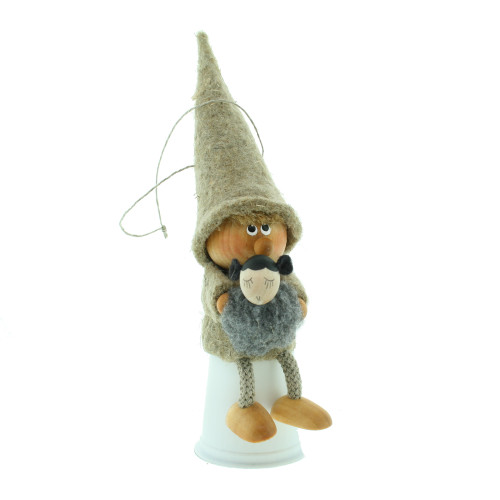 "Boy Ornament w/Lamb - Wooden/Felt - 6"" - Sitter (26291)"