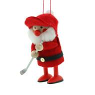 "Elf Golfer Santa Ornament - Wooden/Felt - 3 1/2"" (26295)"