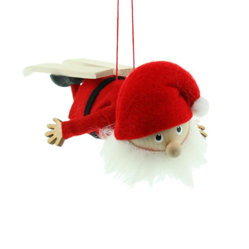 "Flying Ski Santa Ornament - Wooden/Felt - 6"" (26297)"