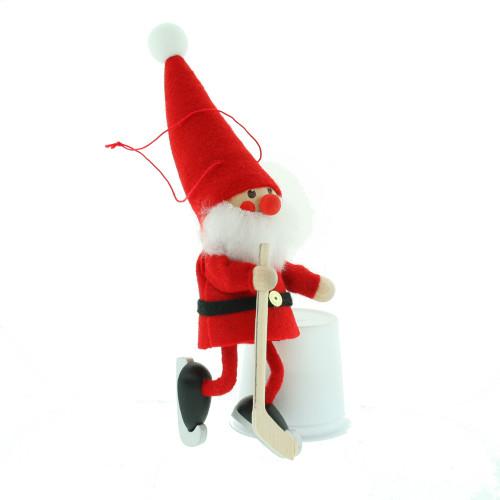 """Hockey Player Elf Santa Ornament - Wooden/Felt - 6 1/2"""" (26298)"""