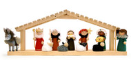 "Nativity Set - 3"" Wooden - 8 Pc's - Holy family with 3 Kings and manger animals. Classic wooden manger scene for Christmas."