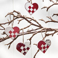 Wooden Braided Heart Ornaments- 4 Pack (7244)