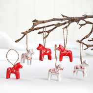 Wooden Dala Horse Ornaments - 6 Assorted (7260)