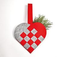 """Felt Braided Heart - 7"""" - 17 CM - 2 Pack (7714)"""