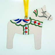Dala Horse Ornament - White (3348)