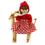 Magnet - Tomte Girl on Straw Goat (13311)