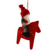 Tomte Boy on Dala Horse Ornament - Wooden (13525)