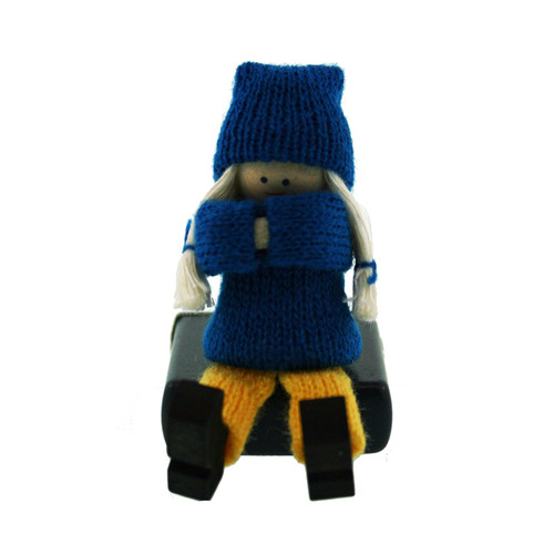 Swedish Girl Sitting Figure - Wooden (45741)