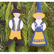 Swedish Yellow & Blue Girl Ornament - Wooden (45845)